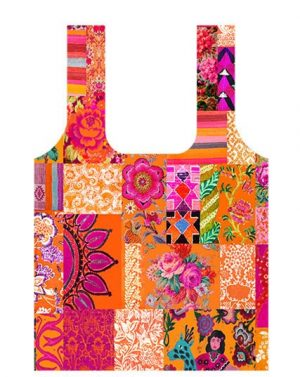 Fold up shopping bag Tangerine Patchwork