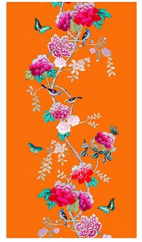 Tablecloth Canvas Orange Bird and Peony 250 x 140 cm